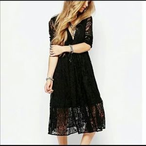 Free People Mountain Laurel Lace Dress Black